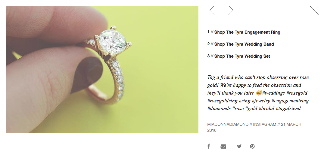 Shop the MiaDonna Instagram - Tyra Engagement Ring