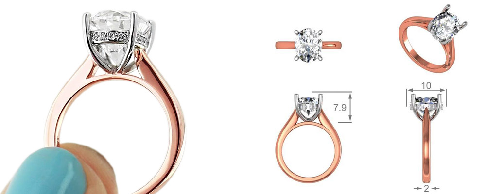 Custom Two-Tone Engagement RIngs - Oval cut, Rose Gold with Platinum Prong Head