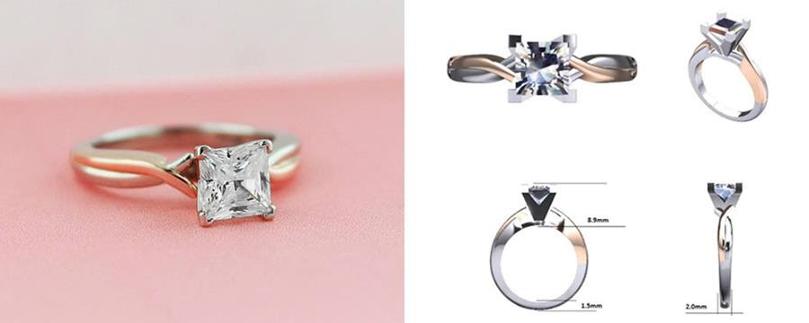 Custom Two-Tone Engagement Rings - Princess cut with rose and white twisted band