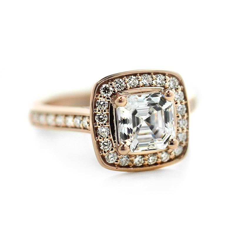 Rose Gold Halo Custom Engagement Ring