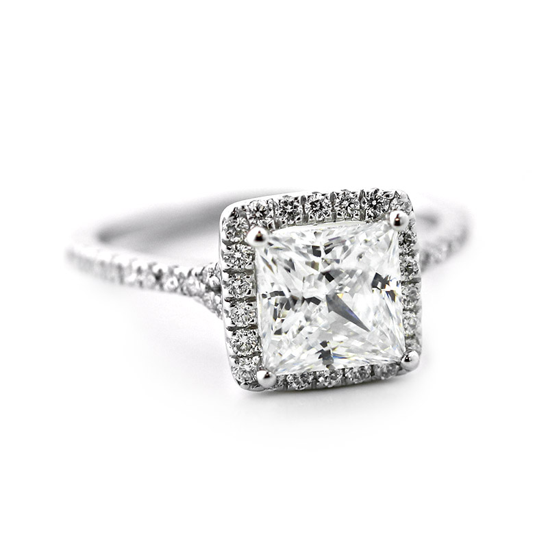 Custom Princess Halo Engagement Ring